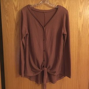 NWOT Tie-Front Button Down Henley Long Sleeve Tee